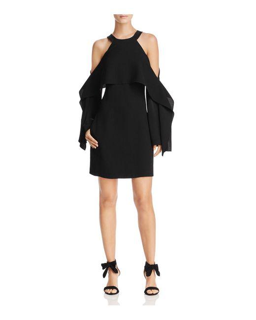 BCBGMAXAZRIA   Black Tristyn Cold-shoulder Cape Dress   Lyst