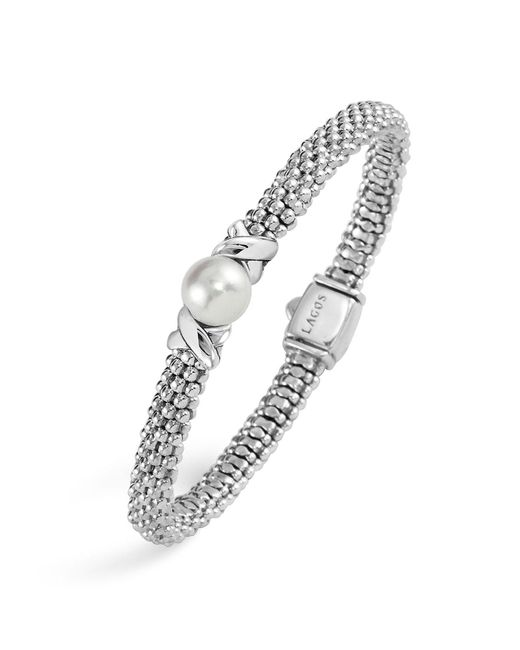 Lagos - Metallic Enso Sterling Silver Caviar Bracelet With Diamonds - Lyst