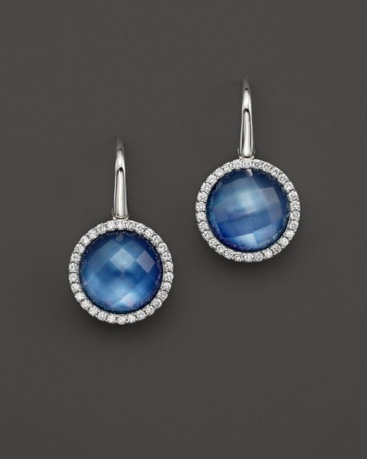 Roberto Coin - White Lapis And Mother-of-pearl Triplet Cocktail Earrings With Diamonds - Lyst