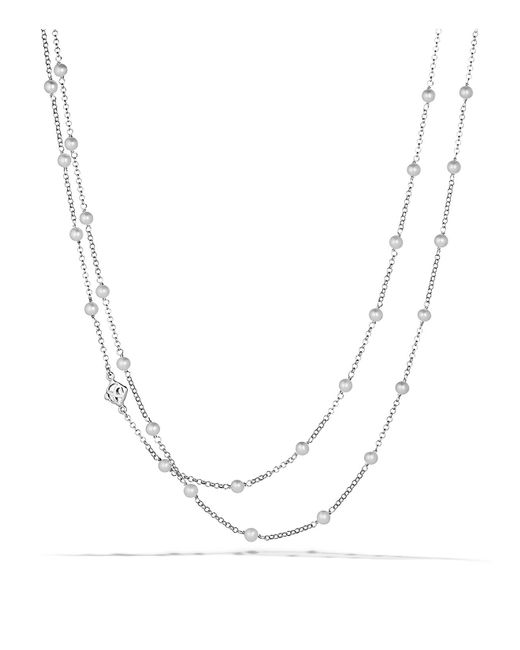 David Yurman - Metallic Chain Necklace With Pearls - Lyst