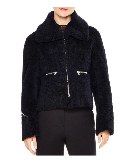 Sandro - Blue Julia Zipper-detail Cropped Real Lamb Shearling Jacket - Lyst