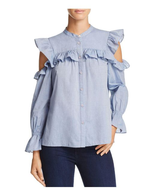 Joie | Blue Akari Ruffled Cold-shoulder Top | Lyst