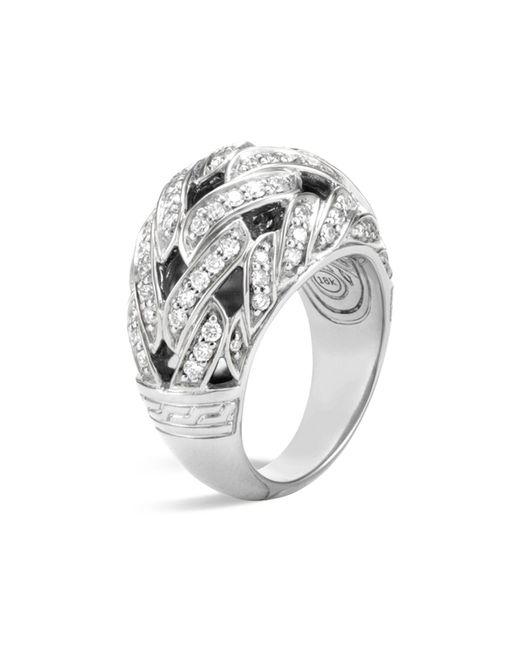 John Hardy | Metallic Classic Chain Sterling Silver Diamond Pavé Dome Ring | Lyst