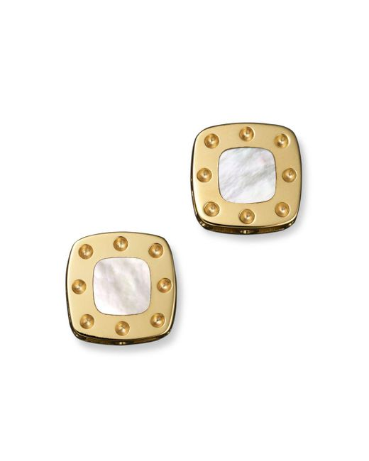 Roberto Coin - Metallic 18k Yellow Gold Mini Pois Moi Mother-of-pearl Square Stud Earrings - Lyst