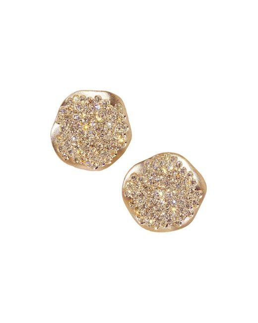 Antonini | Metallic 18k Rose Gold Anniversary Small Pavé Champagne Diamond Earrings | Lyst