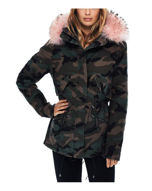Sam. | Black Camo Twill Fur Trim Mini Hudson Parka | Lyst