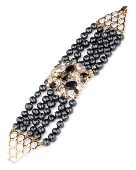 Carolee - Metallic Gold-tone Crystal, Stone & Freshwater Pearl (5-8mm) Multi-row Flex Bracelet - Lyst