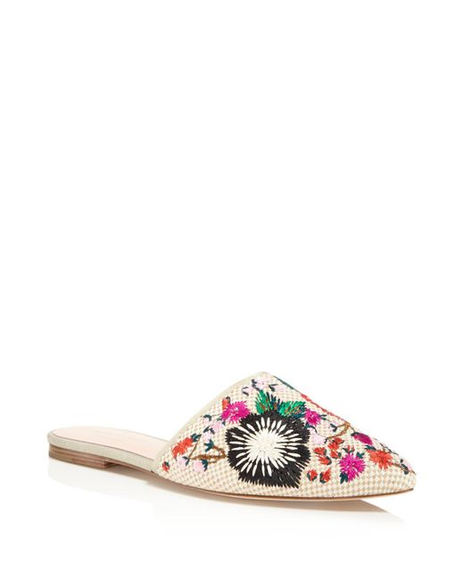 Kate Spade | Natural Monteclair Embroidered Mules | Lyst