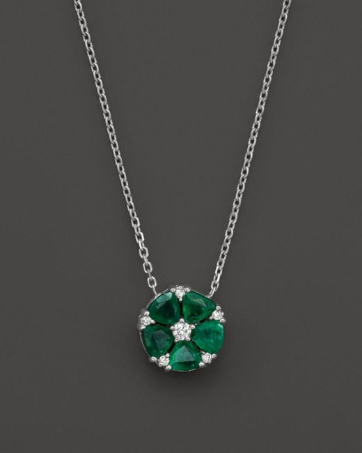 "Bloomingdale's - Green Emerald And Diamond Flower Pendant Necklace In 14k White Gold, 16"" - Lyst"