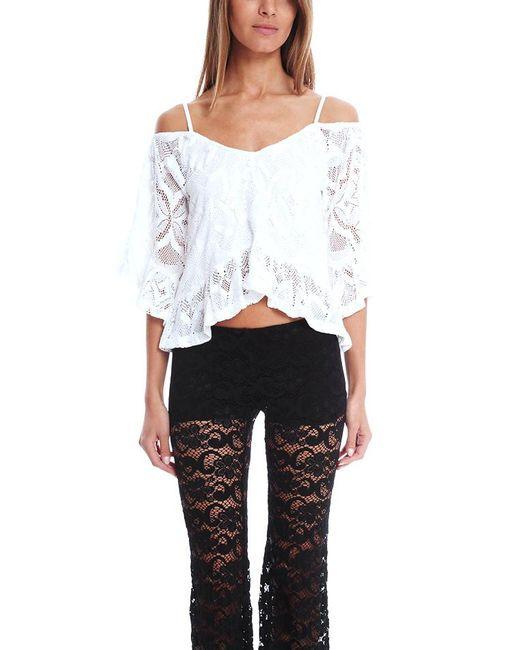 Nightcap - White Crochet Ruffle Blouse - Lyst