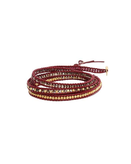 Chan Luu - Red Mix Bead On Maroon Leather Wrap - Lyst