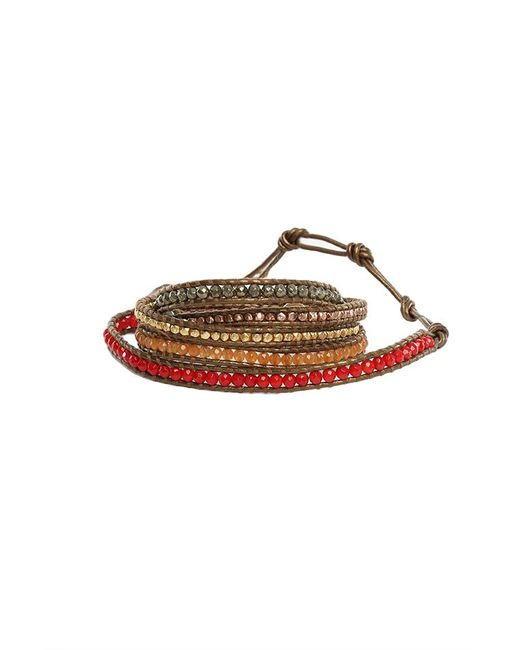 Chan Luu - Brown Multi Stone Mix Wrap Bracelet On Kansas Leather - Lyst