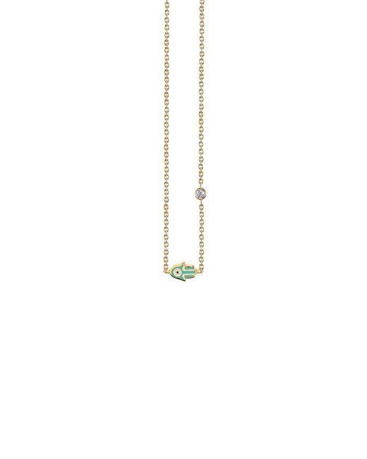 Sydney Evan - Metallic Mini Enamel Hamsa Necklace - Lyst
