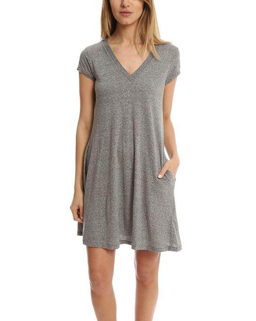 Current/Elliott - Gray V Neck Trapeze Dress - Lyst