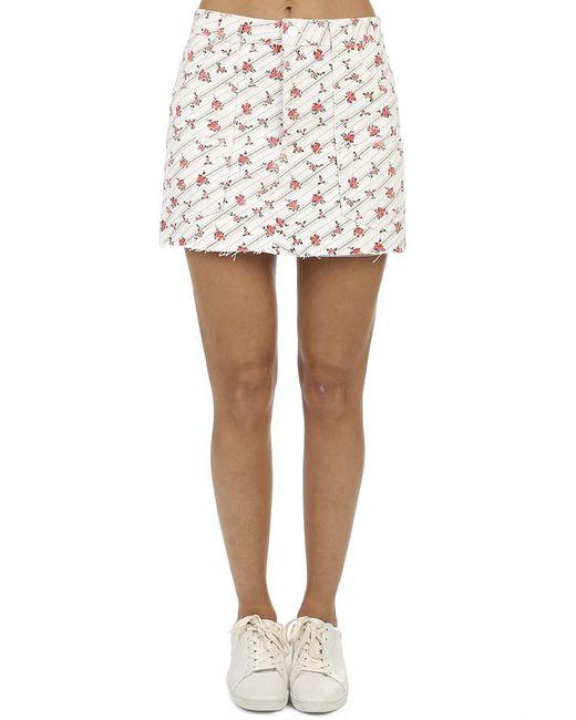 Re/done - White The Rose Print Cargo Mini Skirt - Lyst