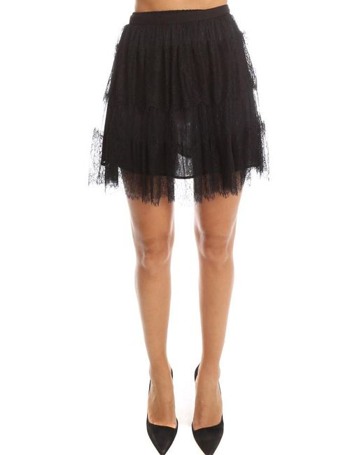 RED Valentino - Black Lace Skirt - Lyst