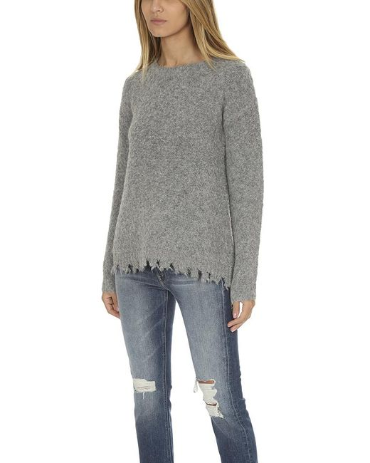 6f53b1077a ... ATM - Gray Alpaca Crew Neck With Destroyed Hem Heather - Lyst ...