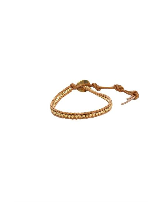 Chan Luu - Brown Gold Beads On Henna Leather Bracelet for Men - Lyst