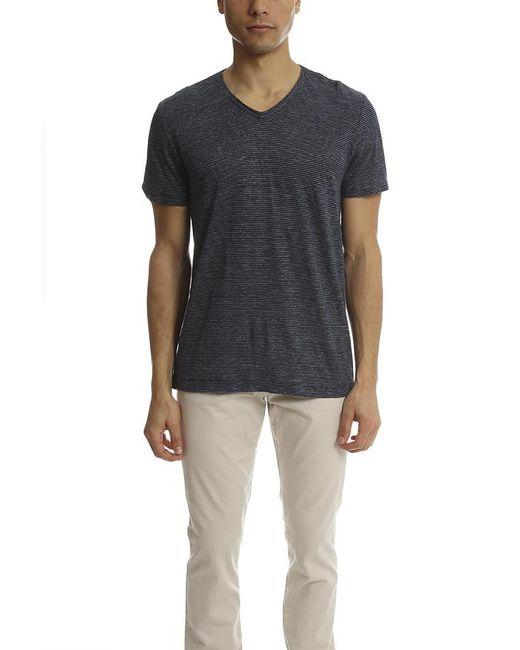 Vince | Blue Linen Feeder Stripe V-neck Tee for Men | Lyst