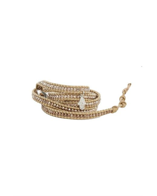 Chan Luu - Metallic Rose Petal Beads On Natural Leather Wrap Bracelet With Diamond Palm Charm - Lyst