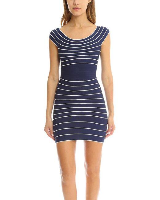 Hervé Léger | Blue Marisol Stripe Dress | Lyst