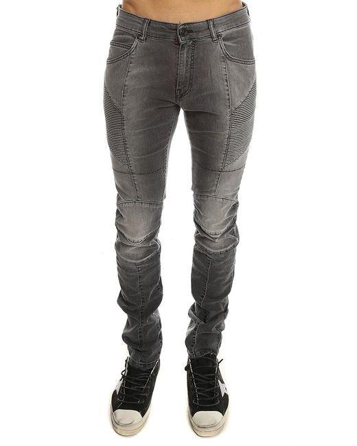 Balmain - Gray Ribbed Moto Jean for Men - Lyst