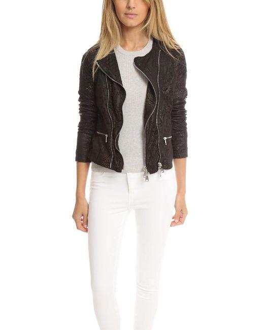 Giorgio Brato | Black Double Zip Lace Leather Jacket | Lyst