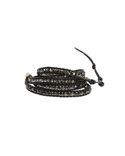 Chan Luu   Metallic Black Chrome Silver Bead On Black Leather Wrap Bracelet   Lyst