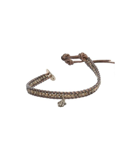 Chan Luu | Brown Grey Indian Beads On Grey Leather With Champagne Diamond Charm | Lyst