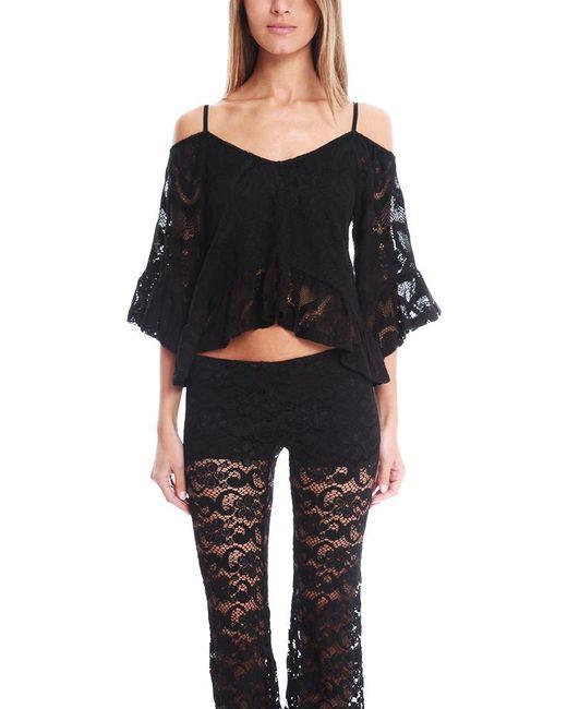 Nightcap - Black Crochet Ruffle Blouse - Lyst