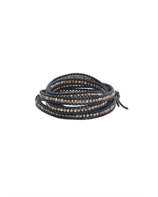 Chan Luu - Metallic Antique Silver Bead On Navy Leather - Lyst