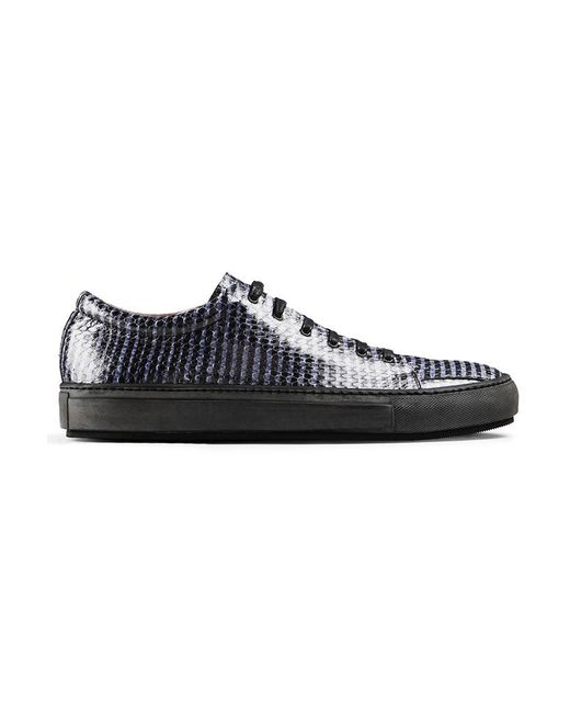 Acne | Black Adrian Striped Snake-Embossed Leather Low-Top Sneakers for Men | Lyst