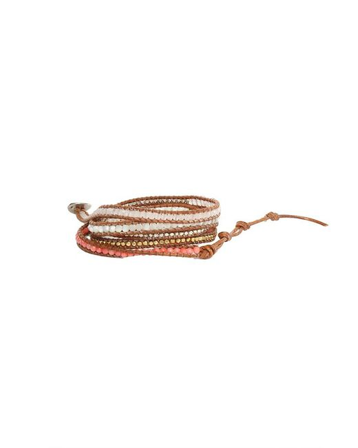 Chan Luu - Brown Multi Stone Mix Wrap Bracelet On Clay Leather - Lyst