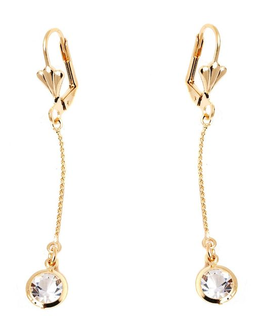 Peermont - Metallic Gold And Clear Crystal Elements Elephant Drop Earrings - Lyst