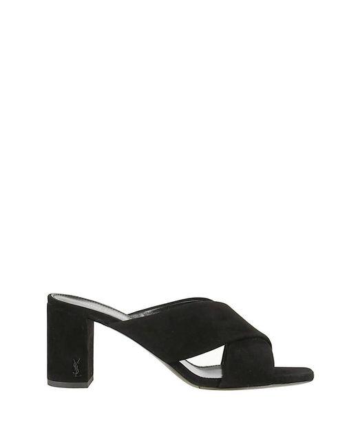 Saint Laurent - Women's Black Leather Sandals - Lyst