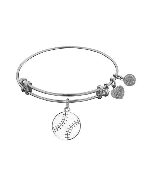 Angelica - White Stipple Finish Brass Baseball Bangle Bracelet, 7.25 - Lyst