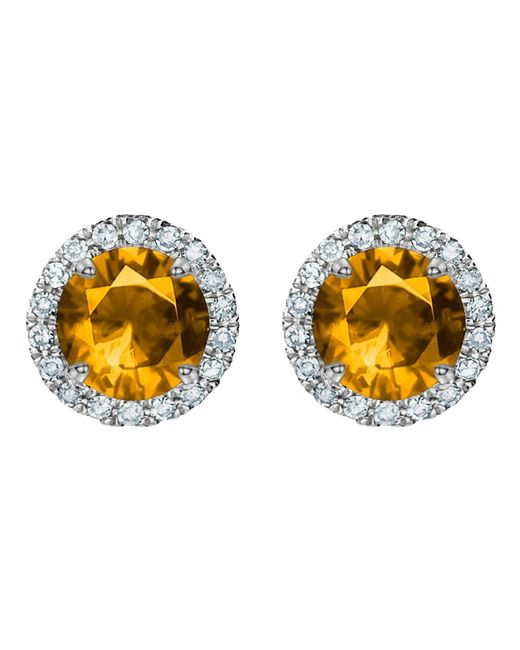 Tia Collections | Orange 5mm Gemstone And Diamond Halo Earrings | Lyst