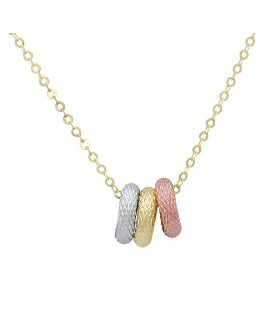 Amanda Rose Collection - Metallic Amanda Rose Tri-tone Three Ring Pendant-necklace In 14k Yellow Gold On An 18 In. Chain - Lyst