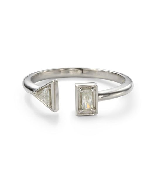 Charles & Colvard - Metallic Forever Classic Triangle And Baguette Two Stone Moissanite Ring - Lyst