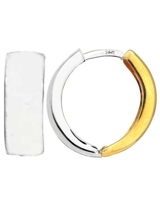 JewelryAffairs - Yellow 14k 2 Tone Gold Snuggable Huggie Reversible Earrings, Diameter 15mm - Lyst
