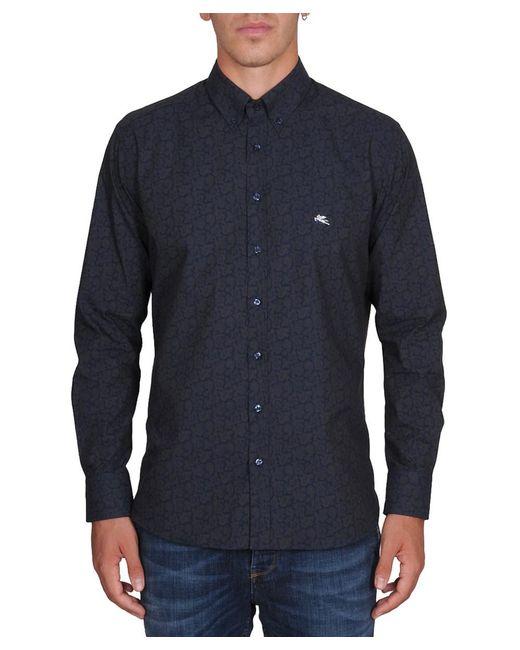 Etro   Men's Blue Cotton Shirt for Men   Lyst