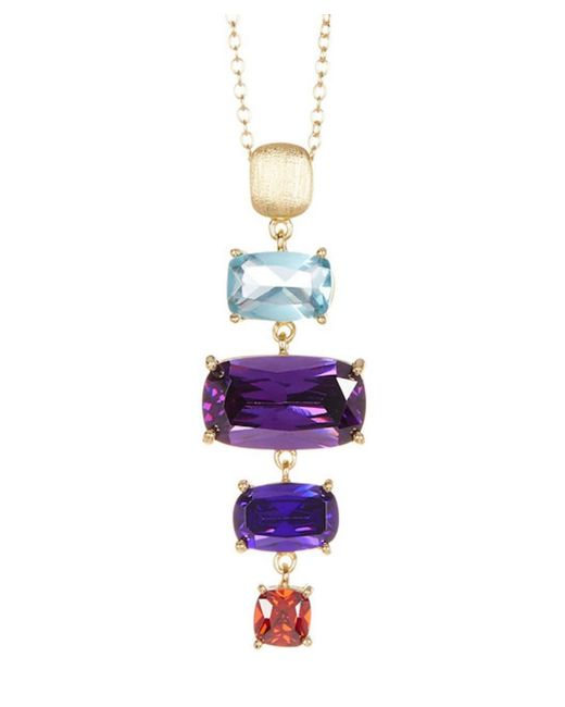 Adornia - Yellow Sterling Silver And Crystal Multi Color Ladder Necklace - Lyst