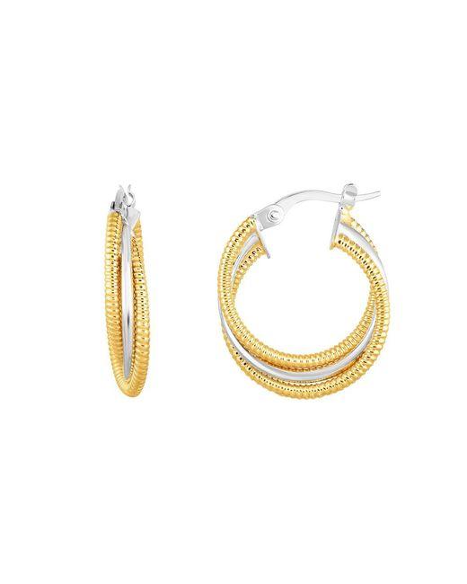 JewelryAffairs   14k Gold Yellow And White Finish Hoop Fancy Earrings, Diameter 15mm   Lyst