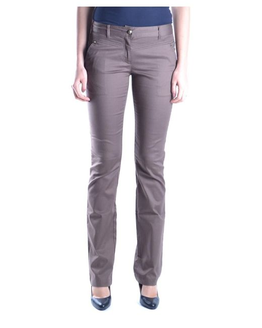 Class Roberto Cavalli | Women's Brown Cotton Pants | Lyst