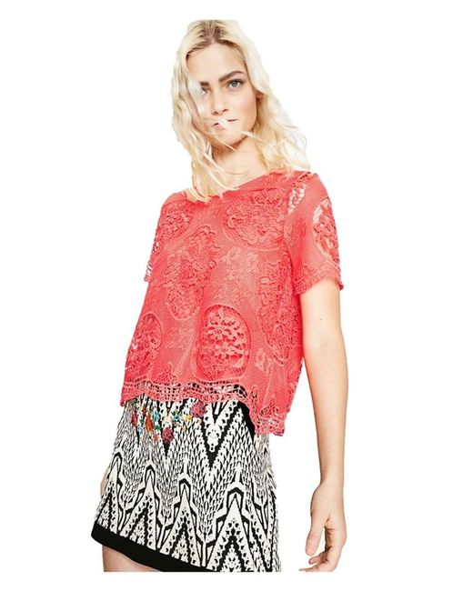 Desigual - Women's Red Cotton Blouse - Lyst