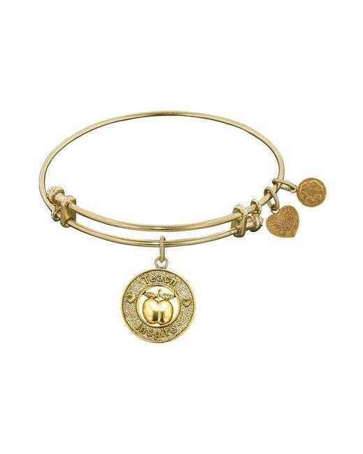 Angelica - Yellow Stipple Finish Brass Apple, Teach, Inspire Bangle Bracelet, 7.25 - Lyst