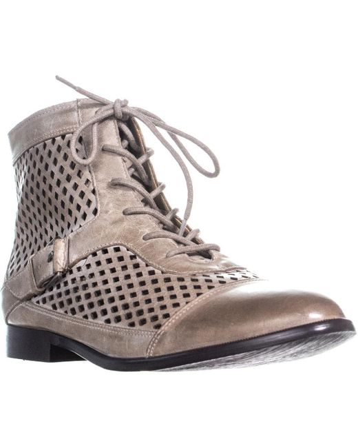 Kensie - Brown Rahi Perforated Lace Up Ankle Boots, Taupe - Lyst