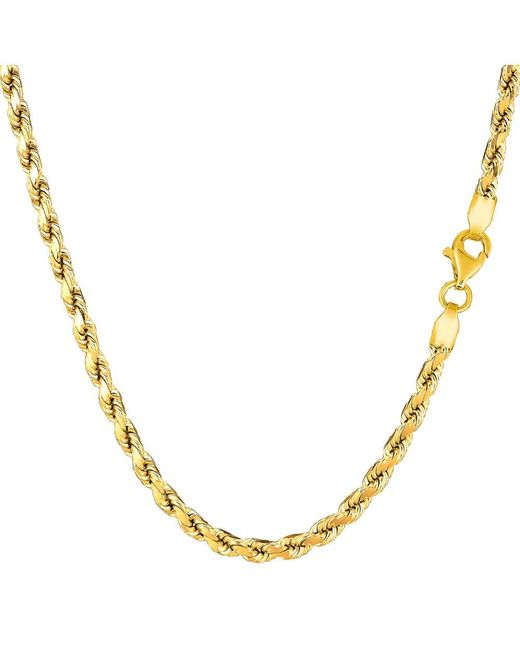 JewelryAffairs - 14k Yellow Gold Solid Diamond Cut Royal Rope Chain Necklace, 3.5mm, 20 Inch - Lyst