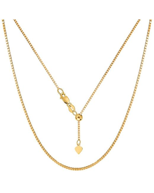 """JewelryAffairs - White Sterling Silver Yellow Tone Plated 22"""" Sliding Adjustable Box Chain Necklace, 1.4mm - Lyst"""