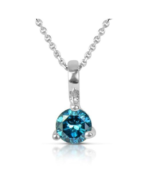 Suzy Levian - 14k White Gold .22ct Tdw Blue Diamond Solitaire Pendant Necklace - Lyst